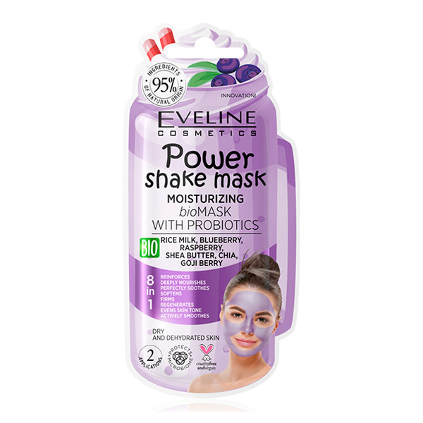 Увлажняющая bio маска с пробиотиками POWER SHAKE MASK EVELINE, 10 мл