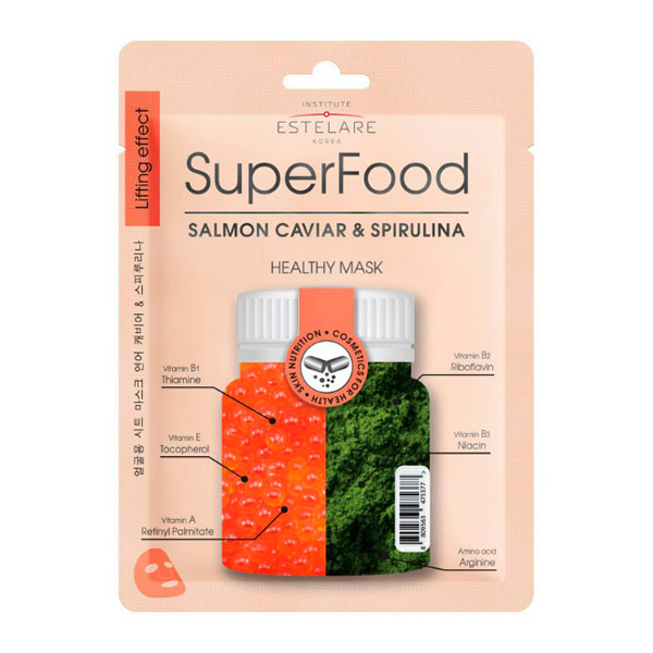 Маска для лица тканевая Икра лосося и Спирулина SUPERFOOD Estelare, 25 г