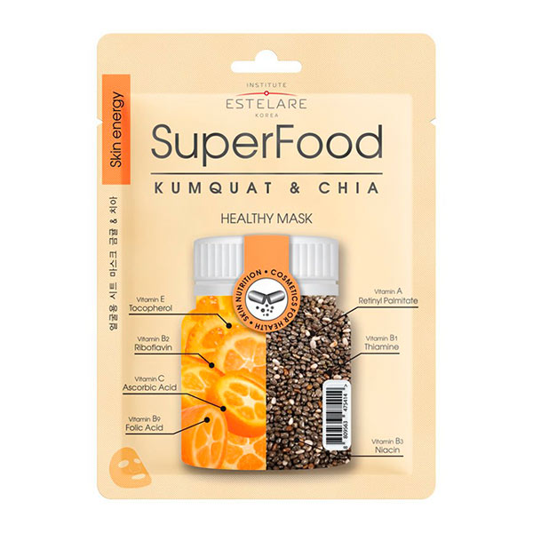 Маска для лица тканевая Кумкват и Чиа SUPERFOOD Estelare, 25 г